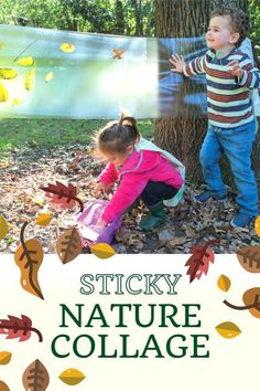 Use contact paper to stick what kids can find in nature - the perfect fall activity!   #collage #kidscrafts #kidsactivities #fall #family #kids #parenting #preschool #toddlers #kidsart #natureart #children #artproject #leaves #nature #familyfun Outside Activities For Kids, Autumn Activities For Kids, Easy Crafts For Kids, Diy For Kids, Kids Fun, Toddler Crafts, Fall Family, Family Kids, Infant Activities