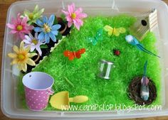 SPRING SENSORY TABLE    Plastic grass  Flowers  Shovel & Bucket  Butterflies  Bird houses  Birds