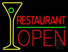 Restaurant With Martini Glass Open Neon Sign 24 Tall x 31 Wide x 3 Deep, is 100% Handcrafted with Real Glass Tube Neon Sign. !!! Made in USA !!!  Colors on the sign are Yellow, Red And Green. Restaurant With Martini Glass Open Neon Sign is high impact, eye catching, real glass tube neon sign. This characteristic glow can attract customers like nothing else, virtually burning your identity into the minds of potential and future customers.
