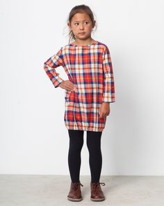 Boy + Girl Bubble Dress in Red Orange Plaid