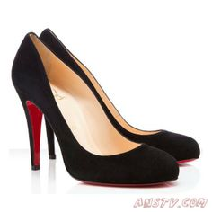 Christian Louboutin Ron Ron Suede Pumps Noir 100mm