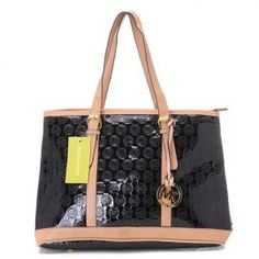 """Michael Kors Amangasett Straw Large Black Totes Outlet Size:14"""" x 11"""" x 5 -Signature leather -Golden hardware -Hanging logo charm -Double handles; top zip closure -Fabric lining -Inside zip, cell phone and multifunction pockets -Flat bottom with feet to protect bag when set down"""