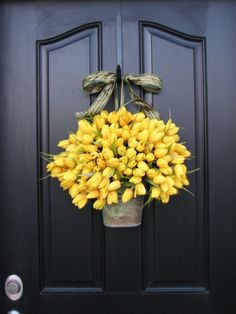Wreaths – Spring Tulips – Yellow Tulips – Easter Tulips – Shabby Chic Decor – Country Decor – Rustic Tin Wall Pocket. $105.00, via Etsy.