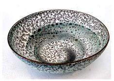 Ceramics by Deirdre Burnett at Studiopottery.co.uk - Thrown open bowl, spiral mixed clays. Wave series. H: 12cm, D: 30cm.