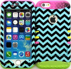 """Amazon.com: Teal, Black and Pink """"Zigzag Chevron Stripes with Non-Slip Grip Texture"""" 3 Piece Layered ULTRA Tuff Custom Armored Hybrid Case for the NEW iPhone 6 Plus 5.5"""" Inch Smartphone by Apple {Made of Soft Silicone Gel and Hard Rubberized Plastic with External Built in Kickstand} """"All Ports Accessible"""": Cell Phones & Accessories"""