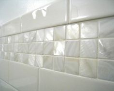 Awe Inspiring Mother Of Pearl Decoration ideas for delightful Spaces Beach design ideas with accent tile basement powder room basement stairs bathroom beadboard bookcase bright green White Bathroom Tiles, Bath Tiles, Bathroom Renos, Bathroom Ideas, Master Bathroom, Bathroom Beadboard, Bathroom Laundry, Bathroom Plans, Master Shower