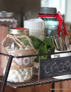 12 Days of Christmas, A Simple Hot Cocoa Stand http://bec4-beyondthepicketfence.blogspot.com/2013/12/12-days-of-christmas-day-12-hot-cocoa.html