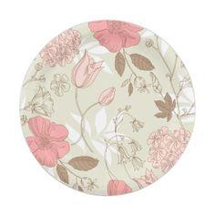 Pastel Pink Floral Garden Paper Plates  sc 1 st  Pinterest & Personalized Monogram Hot Pink Grey Gray Chevron Paper Plate | Grey ...