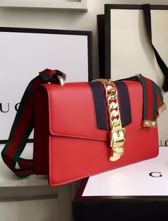 Gucci Sylvie Leather Shoulder Bag Red.  View designer purses at http://luxtime.su/