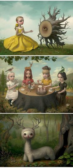 mark ryden's the apology; allegory of the four elements; yoshi.