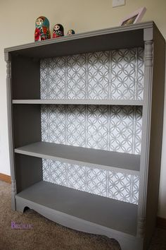 BeingBrook: Stenciled Bookcase {Annie Sloan French Linen-Pure White}