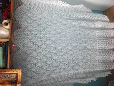 shawl finished stretching by mobilecrafts Crochet Shawl, Knit Crochet, Knitting Daily, Neck Warmer, It Is Finished, Stretching, Daily Inspiration, Quilts, Knitted Scarves