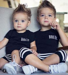 Baby Boy Swag Ideas Baby and Toddler Clothing and Accesories - March 09 2019 at Baby Boy Hairstyles, Toddler Boy Haircuts, Toddler Boys, Baby Kids, Cute Baby Twins, Baby Boy Newborn, Baby Boy Fashion, Fashion Kids, Womens Fashion