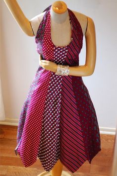 Tie dress - there are some many ties with beautiful patterns languishing in charity/thrift shops. It's great to see them put to good use.