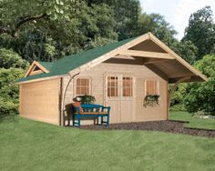 Abri de jardin 21.14m² en pin naturel PEFC 40mm GIRION 5 - Karibu - Tek Import : www.tekimport.fr