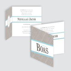 Geboortekaartje Boas, ontworpen door Ontwerp Studio Rottier