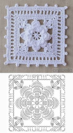 24 patterns and graphics of crochet squares Crochet Doily Diagram, Crochet Motif Patterns, Crochet Chart, Thread Crochet, Crochet Doilies, Motifs Granny Square, Granny Square Crochet Pattern, Crochet Squares, Granny Squares