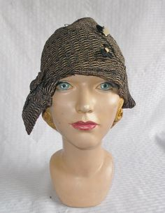1920s Vintage Art Deco Flapper Cloche with by MyVintageHatShop