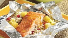 I have been looking for this for YEARS. It is the BEST. The tropics are as close as your backyard when you grill this meal-in-one. Salmon in a foil packet for the grill! Salmon Packets, Foil Packets, Salmon Recipes, Fish Recipes, Seafood Recipes, Game Recipes, Entree Recipes, Meat Recipes, Recipies