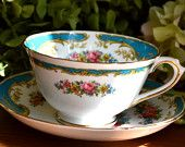 Vintage Tuscan Fine Bone China Tea Cup and Saucer, Naples, Aqua and Floral, Gold Gilt, England