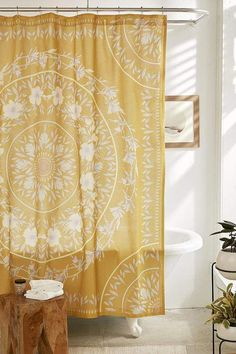 Urban Outfitters Sketched Floral Medallion Shower Curtain #interiordesigntrends