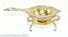 Ornate Antique Sterling Silver Tea Strainer with Stand Gorgeous Art Nouveau | eBay