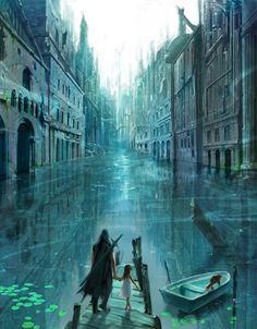 Venice like fantasy city with canals Fantasy City, Fantasy Places, Fantasy World, Creation Art, Fantasy Landscape, Story Inspiration, Art Plastique, Oeuvre D'art, Amazing Art