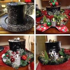 black spray paint, Coffee can ,plastic plate,tea light, snow… Christmas Items, Christmas Projects, Winter Christmas, All Things Christmas, Christmas Wreaths, Christmas Ornaments, Christmas Centerpieces, Xmas Decorations, Coffee Can Crafts