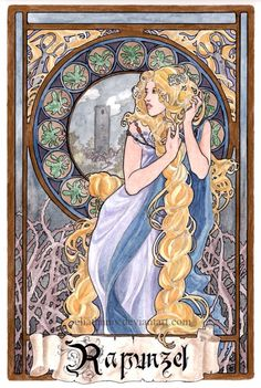 "An awesome link to an incredible page full of modern Characters on posters in art neuveau style - ""Rapunzel"" by Eliathanis Disney Fan Art, Disney Princess Art, Disney Disney, Art Nouveau Disney, Rapunzel, Disney Drawings, Art Drawings, Fairytale Art, Old Art"
