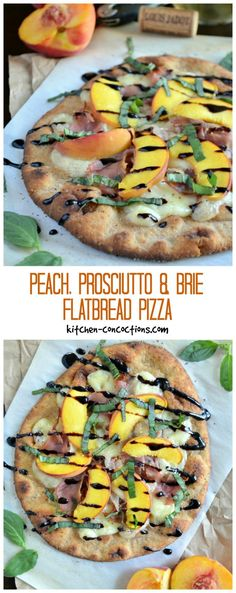 Peach, Prosciutto and Brie Flatbread Pizza - This Peach, Prosciutto and Brie Flatbread Pizza recipe, is a light and lovely summertime dinner! Grab the recipe plus check out some basic wine pairing tips. #sponsored #LoveJadot