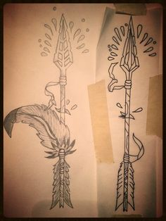 Preliminary sketch for my buddies future tattoo.  The arrow head can change, the feather can be removed or placed behind the arrow, and the skin protrusion can be removed along with the blood.