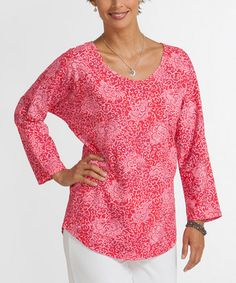 This Barn Red Batik Flower Sweet Scoop Top by Fresh Produce is perfect! #zulilyfinds