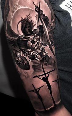 e ideas de tatuajes -Artista IG: . by @ the_art_of_tattooing : Tatuajes e ideas de tatuajes -Artista IG: by @ the_art_of_tattooing Cross Tattoo Designs, Angel Tattoo Designs, Tattoo Sleeve Designs, Tattoo Designs Men, Angel Tattoo Men, Jesus Tattoo Design, Angel Sleeve Tattoo, Religious Tattoos For Men, Religious Tattoo Sleeves