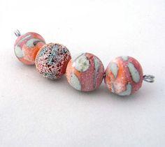 Kimberly Rogers/NuminosityBeads - Crusty Rustic Bright Orange and Red Bicolour Matte beads