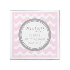 Custom Monogram Baby Shower Pink Grey Napkin Paper Napkins