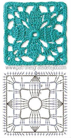 Ideas Crochet Granny Square Pattern Lace For 2019 Crochet Stitches Free, Crochet Motifs, Granny Square Crochet Pattern, Crochet Blocks, Crochet Diagram, Crochet Squares, Crochet Granny, Granny Squares, Crochet Needles