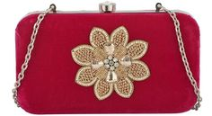 Women Purple Velvet Box Clutch With Golden Flower Motif and 10 Inches Sling #Unbranded #EveningBags