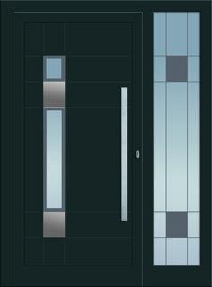 Modell Mira 1 Aluminium-Eingangstüre in grau mit Seitenteil - Außenansicht! Sternstunden-Türen erhätlich bei Fenster-Schmidinger aus Gramastetten in Oberösterreich! #doors #türen #alutüren #sternstunden