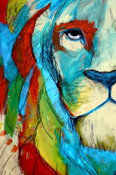 Dancing with the Lion by Sofia Castellanos ©  #art #artist #lion #color #rainbow #illustration #drawing #magic #mystery