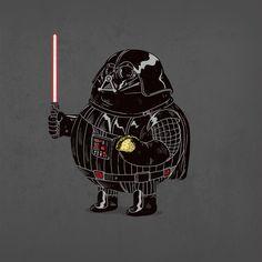 Héroes y villanos algo pasados de peso: Darth Vader