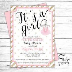 tutu cute baby shower invitation