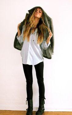 jacket or chunky cardi + white utility blouse + black leggings or skinnies + moto boots
