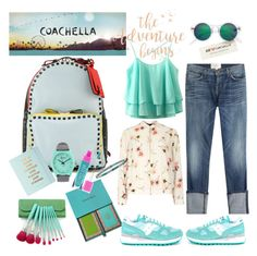 """Coachella 2016 inspired"" by martinambf on Polyvore featuring moda, Saucony, Dorothy Perkins, Current/Elliott, Valentino, Nixon, Kate Spade, Tiffany & Co. e H&M"