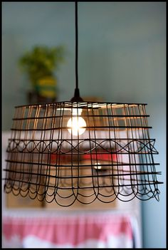 basket turned lamp. LOVE this for @Emily Rawls