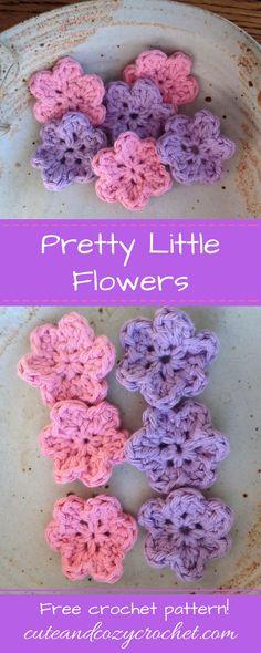 Pretty Little Flowers Free Crochet Pattern Simple Pattern Easy Small Flower Crochet Small Flower, Love Crochet, Crochet Gifts, Crochet Motif, Beautiful Crochet, Crochet Flowers, Crochet Stars, Free Crochet Flower Patterns, Crochet Ideas