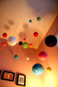 Yarn ball ceiling decorations for the craft room, plus super cute girl and boy room ideas