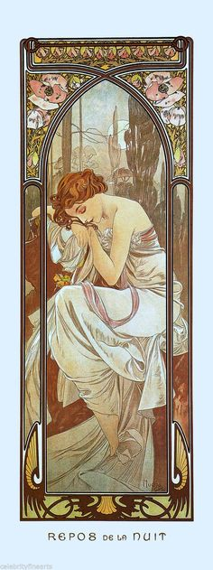 5 Prints Alphonse Mucha Art Nouveau Times of Day Night Waking Evening Rest NEW    eBay