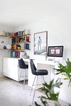Make your own custom built-in desk. Woah! (click through for details)