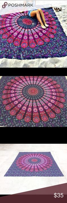 """Beach towel bed wall festival yoga spread taoestry Brand new.Handmade with natural dyes.  Uses: bed spread, couchv spread, curtains, wallhangings, Celling decor, beach mat, picnic mat, table cloth, yoga & meditation.  Size: 90"""" X 84"""" inch ( Queen bed)   Material;100% Cotton  Wash: cold wash Swim Coverups"""