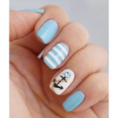 60 Cute Anchor Nail Designs ❤ liked on Polyvore featuring beauty products, nail care, nail treatments, nails, nail polish and beauty